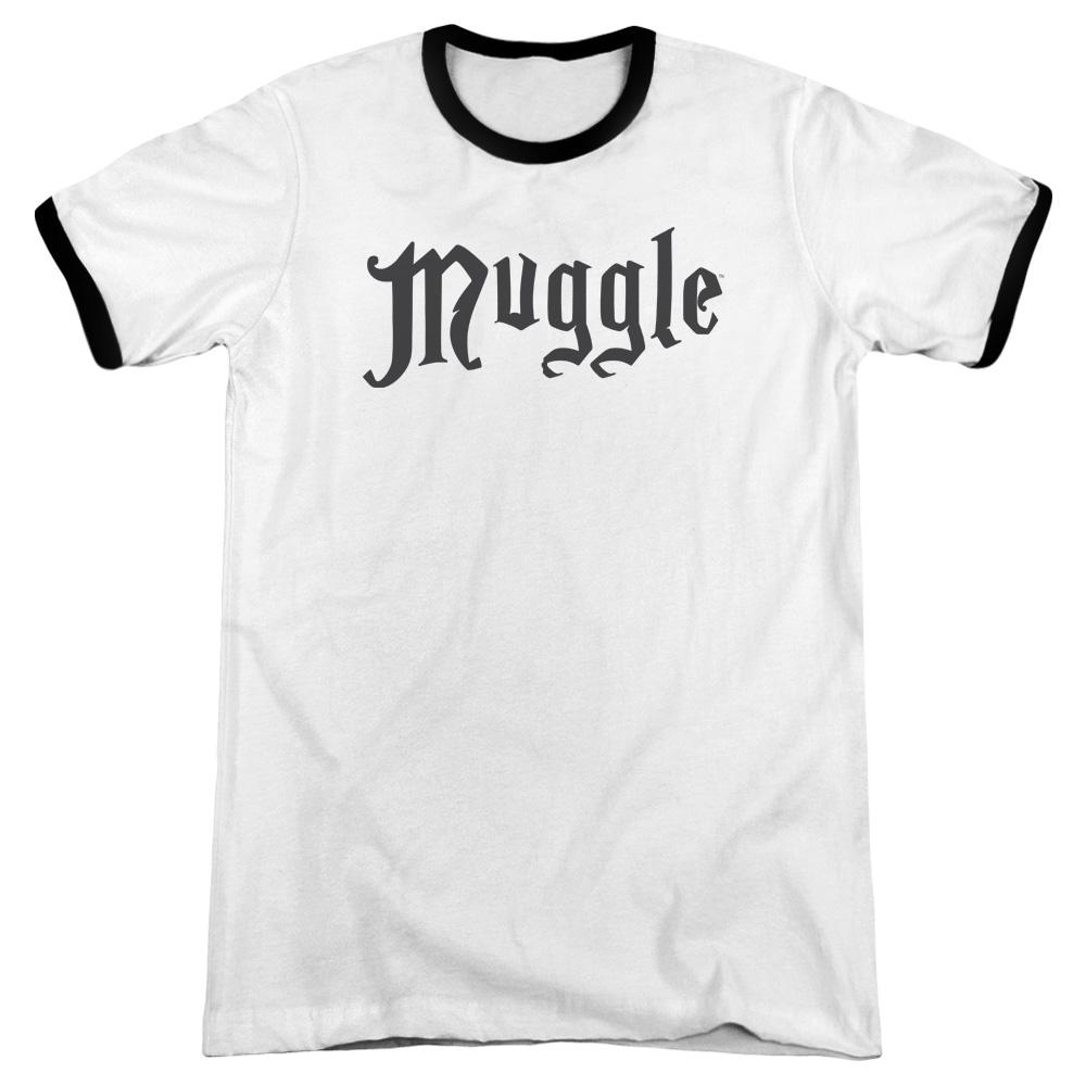 Harry Potter Muggle Adult Ringer White Black