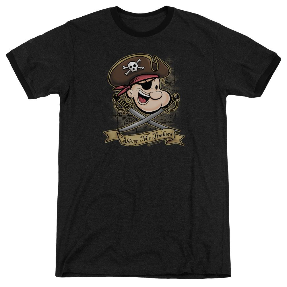 Popeye Shiver Me Timbers Adult Heather Ringer Black