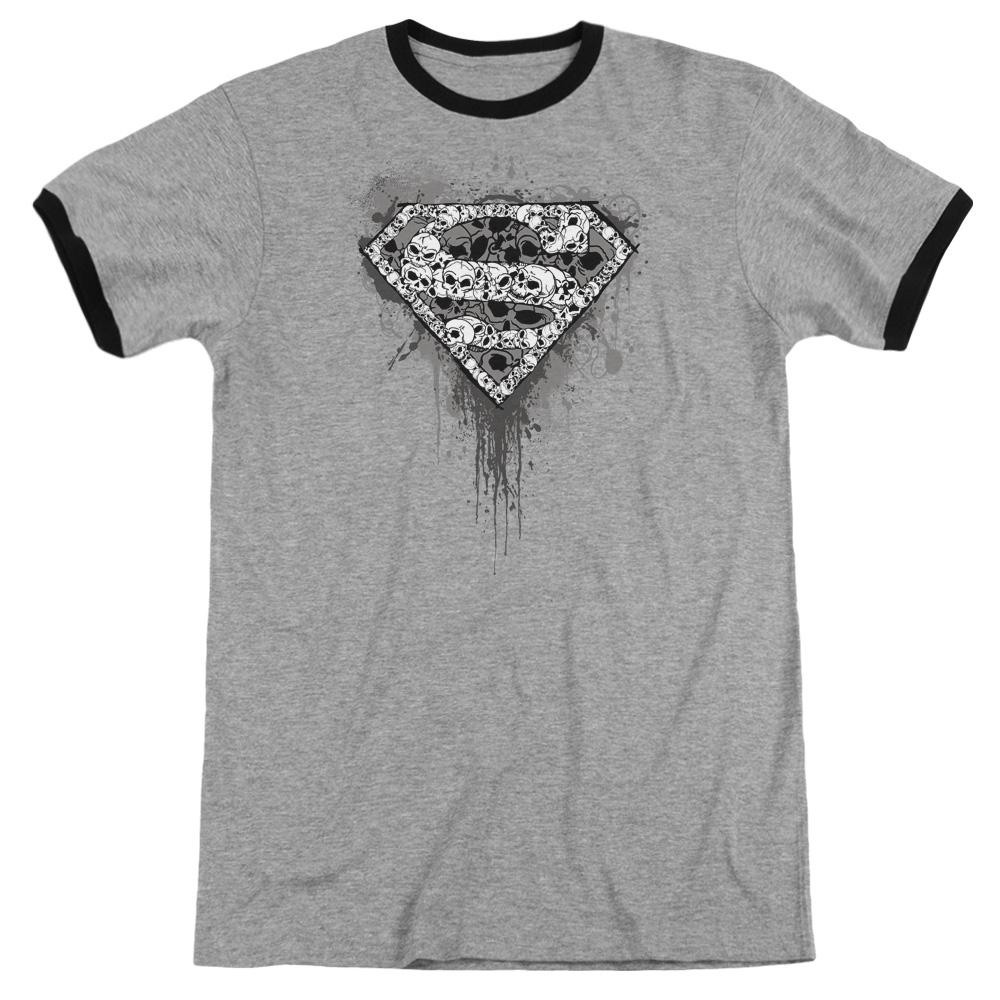 Superman Many Super Skulls Adult Ringer Heather Black