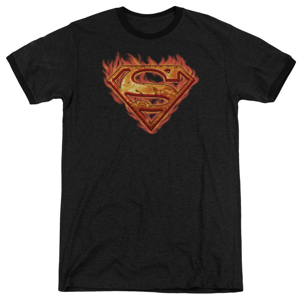 Superman Hot Metal Adult Heather Ringer Black