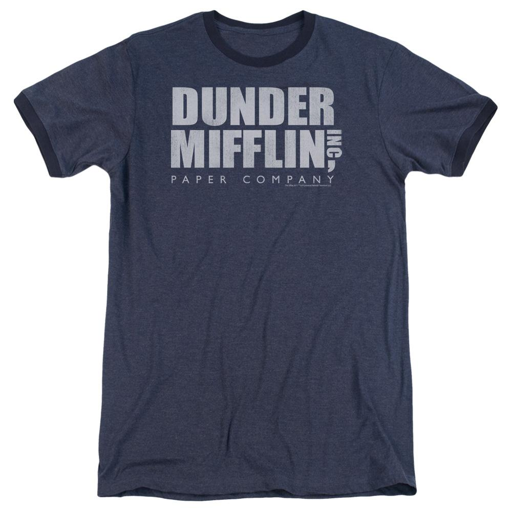 45fb7609cef25 The Office Dunder Mifflin Distressed Adult Heather Ringer Navy  (trev.nbc357.ar.