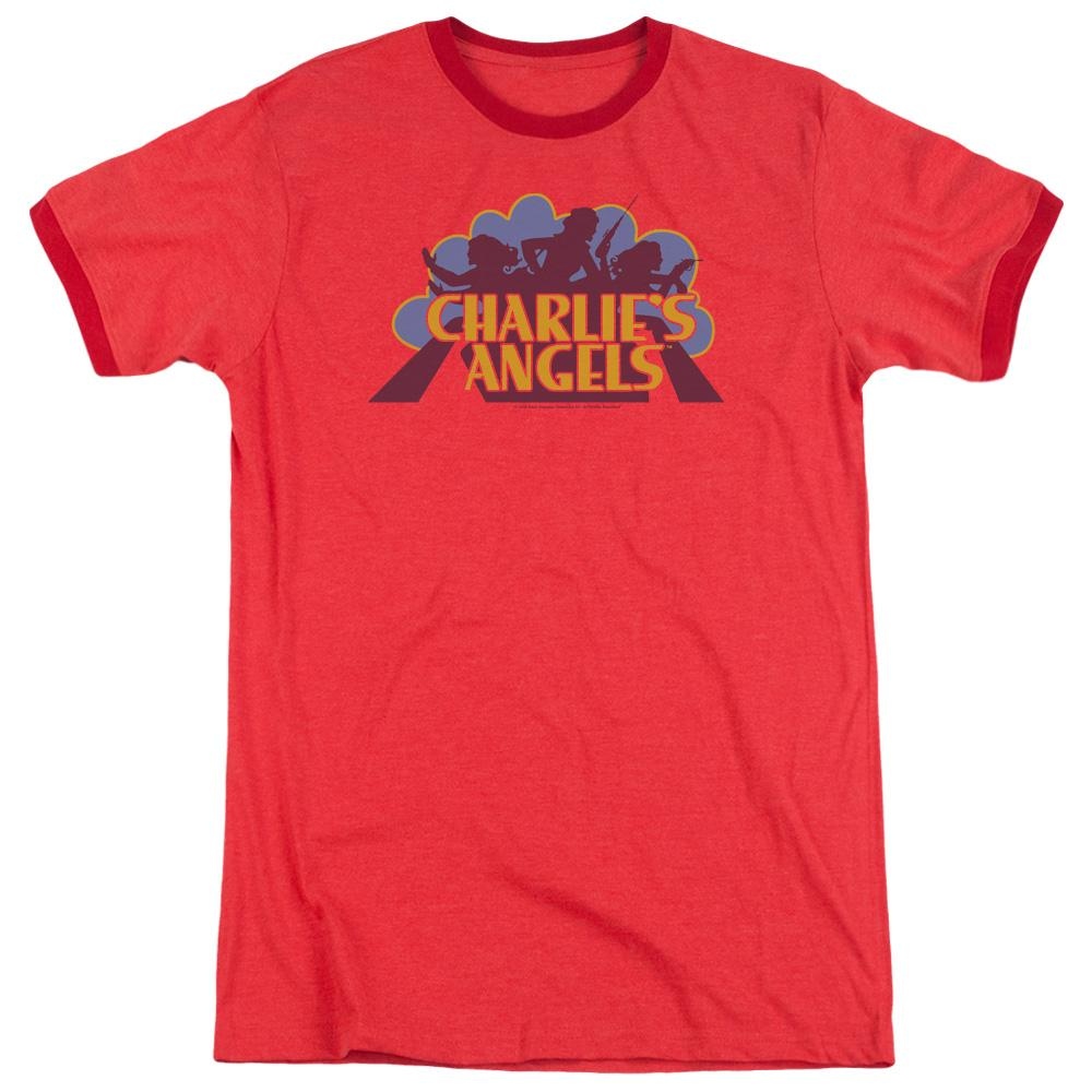 Charlies Angels Faded Logo Adult Ringer Red